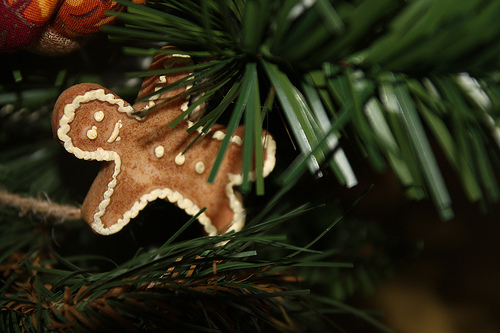 gingerbread man hanging from tree