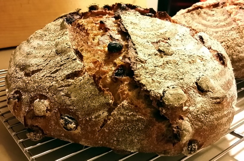 Coriander-raisin sourdough bread
