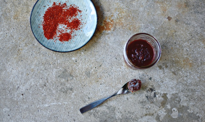 This is the easiest and quickest way to make Gochujang - the essential Korean red pepper paste used in so many Korean dishes. Date syrup rather than honey or sugar is the key to adding the depth of flavour often missing in commercial brands. Not fermenting. Just five minutes, a few easily obtained ingredients. one pan and a jar.