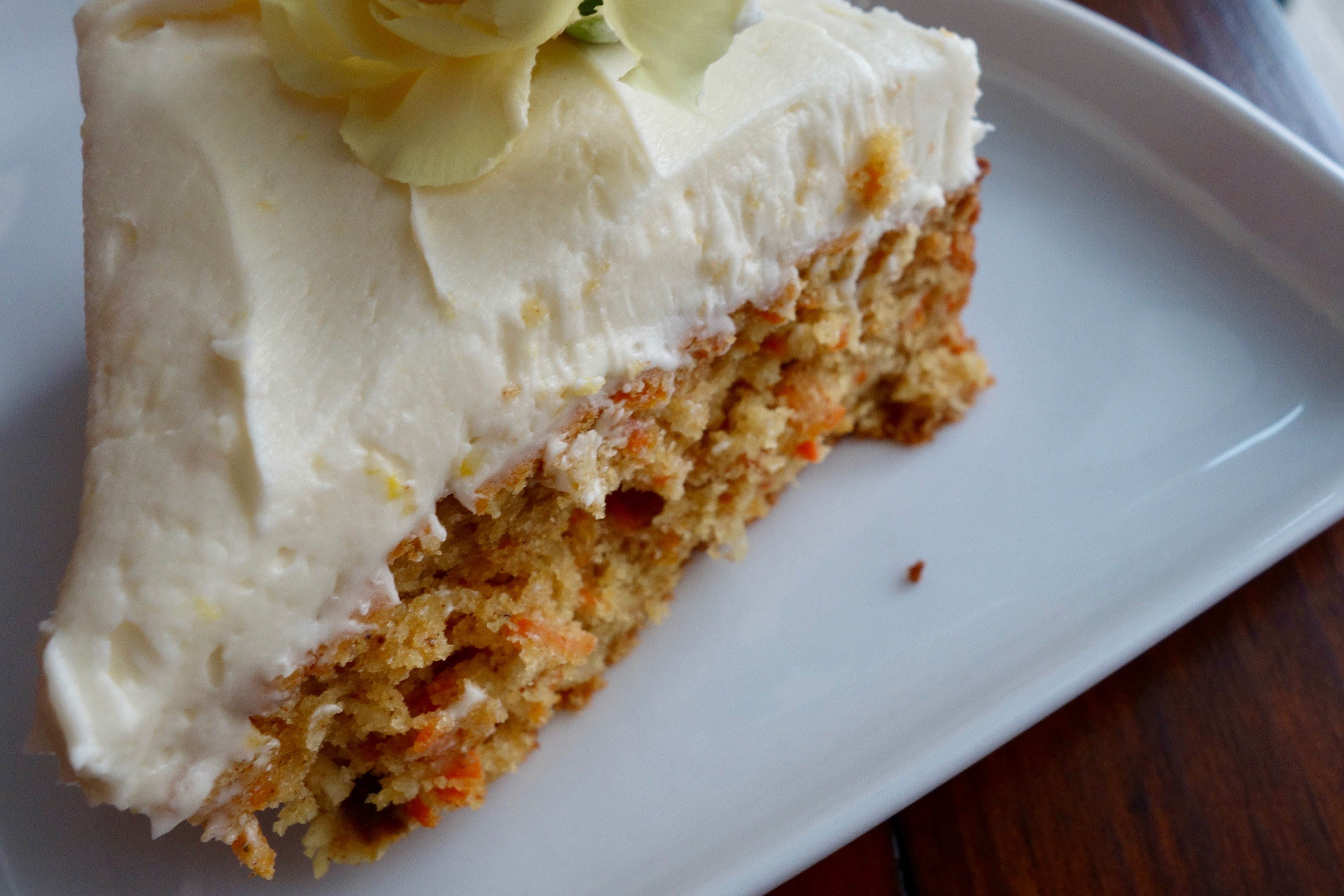 Olive Oil Carrot Cake with Lemon White Chocolate Buttercream